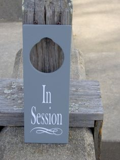 In Session Door Knob Hanger Wood Vinyl Sign by heartfeltgiver