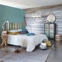 Tête de lit 160 en bois recyclés multicolores vieillis