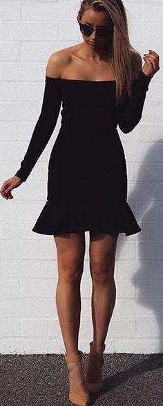 Ruffle Hem Little Black Dress                                                                             Source