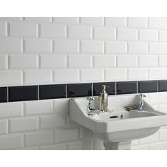 White Bathroom Wall Tiles Metro White Wall Tile Metro Wall Tiles From Tile Mountain Metro Tiles Bathroom, White Subway Tile Bathroom, White Wall Tiles, Bathroom Wall, Small Bathroom, Tiles Uk, House Tiles, Splashback Tiles, Victorian Bathroom
