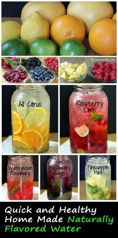 Infusing water with different pickings of fruits and aromatic herbs gives a varied, refreshing flavored water drink that is entirely original and not found on any supermarket shelves. Check out these naturally flavored water drinks. Worth re-pinning!