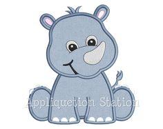 Animal de bebé Rhino apliques máquina bordado diseño selva muchacho muchacha linda Safari rinoceronte zoológico descargar instantánea