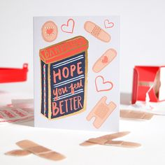 Hope you feel better letterpress card. Cheer Up Gifts, Greeting Card Shops, Gold Foil Print, Get Well Cards, Card Maker, Hand Illustration, Sympathy Cards, Cute Cards, Helping Others