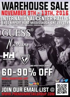 Guess, Marciano Warehouse Sale Save 60-90% off designer fashions!