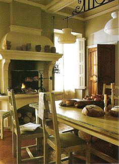 I love the idea of a fireplace in the kitchen. My dream kitchen had a big ol' fireplace in it. Must have brick. Cozy Kitchen, Primitive Kitchen, French Kitchen, Rustic Kitchen, Kitchen Sink, Kitchen Ideas, Home Fireplace, Kitchen Fireplaces, Tall Fireplace