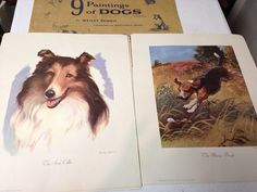 Vintage 1955 Wesley Dennis 9 Paintings of Dogs by RusticBuckets, $40.00
