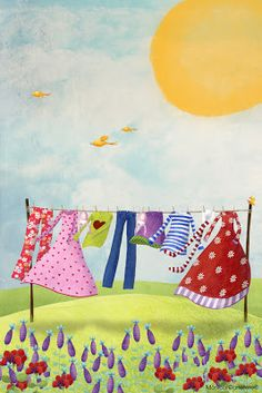 Back when Mamma would Dry Our Clothes on the Clothes Line. Illustrations, Children's Book Illustration, Art Corde, Laundry Art, Smelly Laundry, Art Fantaisiste, Naive Art, Whimsical Art, Art Plastique