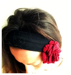Uncinetto Fascia Rosa Rossa scarlatta molletta capelli, Crochet Hair Rose Pin headband