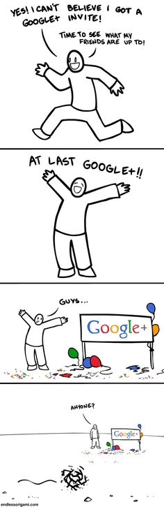 This is how I feel about Google+. I love it, but there is no one at the party. :(
