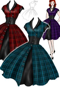 1950s Side Button Plaid Dress by Amber Middaugh  --Save 37% at ChicStar.com --Coupon: AMBER37