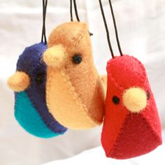 These colourful felt birds will brighten your windows through the dreary post-Christmas winter. Simple, sweet and hand-sewn.