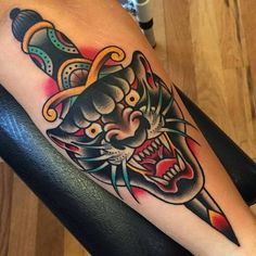 Cool Neo Traditional Tattoo Designs, Ideas & Meaning - My list of the most creative tattoo models Traditional Dagger Tattoo, Traditional Tattoo Forearm, Traditional Panther Tattoo, Traditional Tattoo Design, Traditional Sailor Tattoos, Sanduhr Tattoo Old School, Old School Tattoo Designs, Old Tattoos, Tattoos For Guys