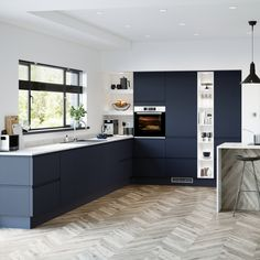 Bring in rich, luxe tones to a kitchen with the bold navy colour of this handleless door. Grey Kitchen Designs, Kitchen Room Design, Modern Kitchen Design, Home Decor Kitchen, Interior Design Kitchen, Howdens Kitchens, Handleless Kitchen, Home Kitchens, Kitchen Showrooms
