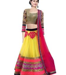 Buy Yelllow embroidered Net Semi-stitched lehenga-choli ghagra-choli online