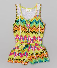 Look what I found on #zulily! Yellow & Lime Zigzag Romper - Toddler & Girls by Pink House #zulilyfinds