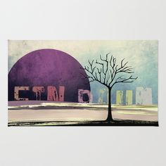 Ein Baum no5 [One Tree no5] Area & Throw Rug by Pia Schneider [atelier COLOUR-VISION] - $28.00 #painting #art #typography #tree #surrealism #purple #black #blue #bedding #home #decor #rug #roofdecor #decoridea #textiles #piaschneider #ateliercolourvision