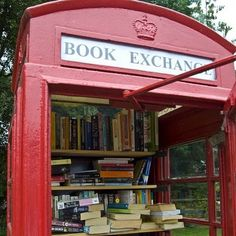 Lots of villages in the UK have turned red telephone boxes into mini libraries, just take a book and leave one behind....   www.BookLending.com