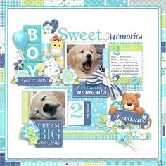 A great baby boy digital scrapbook kit that can also be used for your baby puppy...or cat...or other pet!!  Scrapbook layout created using Baby's Firsts Boy Collection from Nitwit Collections #digitalscrapbook