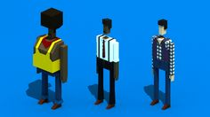 Random Low-Poly Characters by Rodrigo Oliveira, via Behance