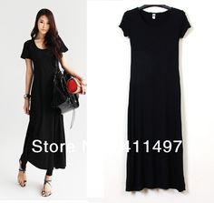 ladies maxi short sleeve cotton dresses | Wholesale Short-sleeve solid color long maxi dress Japanese cotten ...
