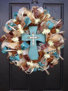 Vintage cross mesh wreath by Glitzy Wreaths