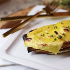 Step up your vegan grilled cheese game with this gooey Croque Monsieur, full of vegan ham, provolone, bechamel, dijon, & crusty sourdough.