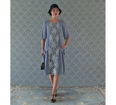 Grey and silver Great Gatsby dress with elbow length sleeves