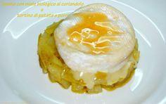 Tomino con miele biologico al coriandolo e tortino di patate e porri