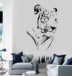 Wall Vinyl Decal Tiger Head Predator Animal Jungle by BoldArtsy