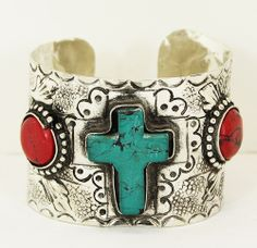 Silvertone Navajo style cuff ... turquoise and coral ... buy it at Red River Cowgirl Clothing Company on Facebook or message me at redrivercowgirl@gmail.com.