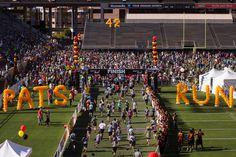 Participants finish at the 42-yard line of Sun Devil Stadium.