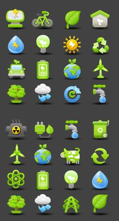 Energy-saving emission reduction icons