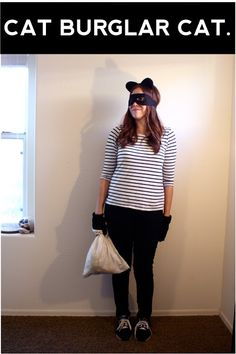"""A useful list of """"Last Minute Cat Puns Halloween Costumes."""" Cat Burglar and Cat's Pajamas are my favorite."""