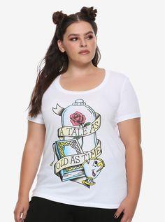 5fc6e1256f953 Disney Beauty And The Beast Tale Tattoo Flash Girls T-Shirt Plus Size