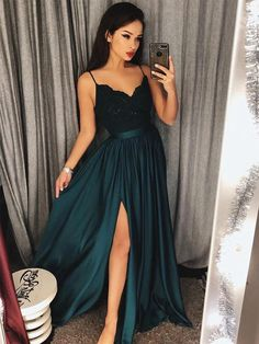 A Line V Neck Dark Green Lace Prom Dress with Slit, Dark Green Lace Formal Dress, Lace Evening Dress #prom #dress #promdresses #promdress2018 #promdress #prom2018 #prom2k18 #greenpromdress #vneckpromdress #lacepromdress #promdresses #greenlacedress #formaldress #lacepromdresses #dresses #fashion #beauty #trends #girls