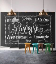 Chalkboard Beer Wall Mural • Cool Man Cave Design • Milton & King | 1000 Pastry Design, Cafe Style, Pastry Shop, Cafe Interior, Bakery Interior Design, Shop Signs, Wall Murals, Kitchen Decor, Kitchen Signs
