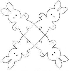 shéma pour un lapin  de Pâques en papier