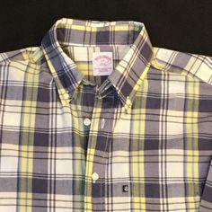 Men's Brooks Brothers Button Down Plaid Shirt Size Large | eBay