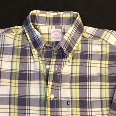 Men's Brooks Brothers Button Down Plaid Shirt Size Large | eBay