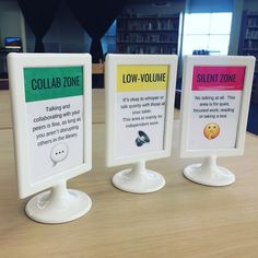 I created new conversation zone signage for the library today because I want to support the learning styles and needs of ALL my students. School Library Decor, School Library Displays, Middle School Libraries, Elementary School Library, Library Ideas, Teen Library Space, School Library Lessons, Library Decorations, Library Themes