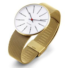 Bankers designed by Arne Jacobsen for Rosendahl (gold) at Dezeen Watch Store: http://www.dezeenwatchstore.com/shop/bankers-gold/ #watches