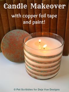 Glass Jar Candle Makeover with copper foil tape and paint!