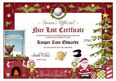 Santa naughty list certificates official naughty list certificate