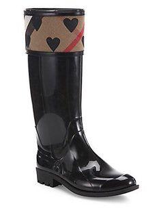 Burberry Crosshill Heart Check Rain Boots