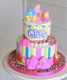 Shopkins party cakes - Celebrat : Home of Celebration, Events to Celebrate, Wishes, Gifts ideas and more ! Shopkins Cake Toppers, Bolo Shopkins, Shopkins Bday, Brithday Cake, Birthday Cake Girls, Birthday Ideas, Pastel Shopkins, Cake Cookies, Cupcake Cakes