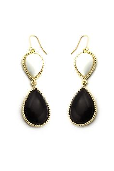 Cabochon Dangle Earrings Black  $22.00
