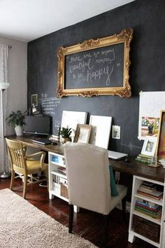 Shared Home Office Ideas office with chalkboard walls
