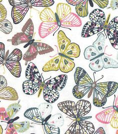 """Snuggle Flannel Fabric 42""""-Study Butterflies"""