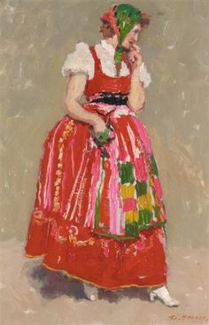Frans Smeers - WOMAN IN PORTUGUESE COSTUME; Medium: oil on canvas