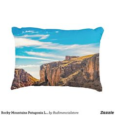 Rocky Mountains Patagonia Landscape - Santa Cruz - Decorative Pillow